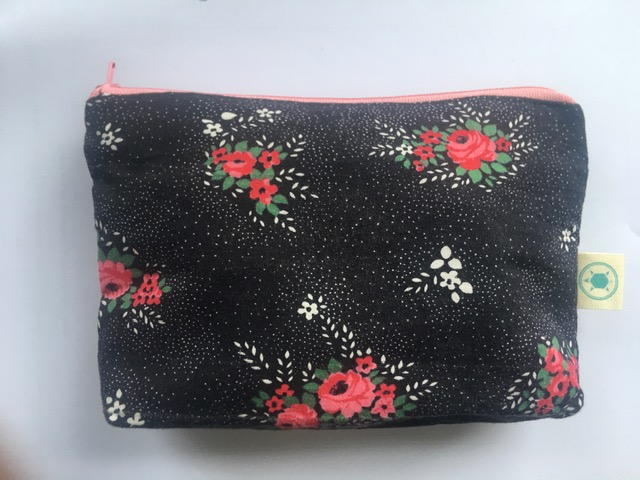 Black & floral zipper pouch £12