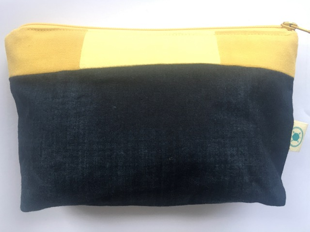 Yellow & Navy zipper pouch £12
